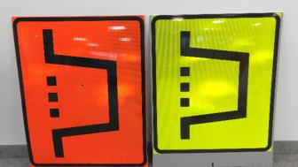 Limegul markering vid markering av vägarbete Foto: Berlex AB