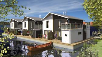 Flytande bostäder: Lägenheter som flyter på vattnet i Karlstad