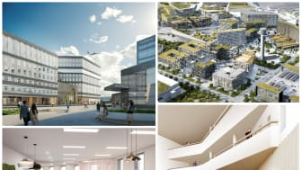 Ett kollage med visionsbilder i och omkring den nya kontorsbyggnaden Office One. Bild: Swedavia