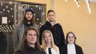 Övre raden fr. vänster: Mattias Edborg, Mirza Tule. Nedre raden fr. vänster: Alfred Emanuelsson Vretander, Vendela Hansson, Clara Karlin.