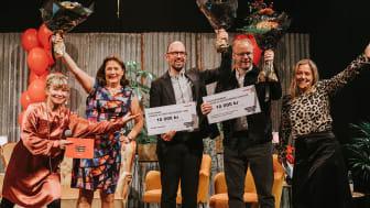 Vinnarna av Crimetime Award 2021 med kvällens programledare. Från vänster: Josefine Sundström, Anna Jansson, Klas Ekman, Johan Rundberg, Rebecka Edgren Aldén. Foto: Emma Grann.