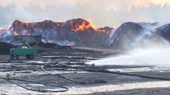 Bild tagen vid förmiddag på Lilla Nyby den 7 augusti, femte dagen som det brinner.