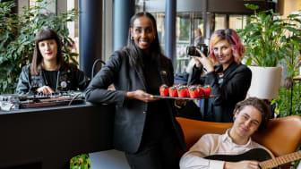 Teamet som kommer att ta Clarion Hotel Sign till en ny nivå inom service performance är Nadia Fagerdin, Farhia Mohamed, Myy Wooremaa och Philip Hallberg samt Daniel Burton (saknas på bild)