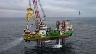 Suction Bucket Jacket on GeoSeas heavy lift vessel Innovation to be lifted and placed on the seabed at Borkum Riffgrund 2 and thereafter penetrated into place by suction inside the three foundation buckets.