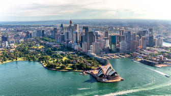 Aerial view of Sydney Harbor and Downtown Skyline