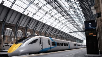 Hitachi intercity train CGI in Kings Cross station. The final train design and branding to be released at a later date.