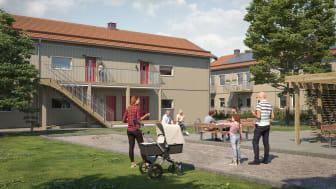 Illustration av entrésida som vetter ut mot gemensam gård med grönytor, lägenheterna i BoKlok Pysslingen i Växjö.