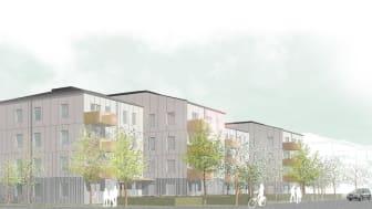 Kvarteret Signallottan 2 ligger vid Stora Törnekvior och Ada Blocks gata på A7-området i Visby. Illustration: Visbyark.