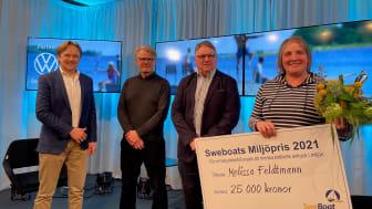 Prisutdelning med Hanse Thorslund, Allt för sjön, Mats Eriksson, Sweboat, Göran Gross, Dyvik Marina/Sweboat, och Melissa Feldtmann.