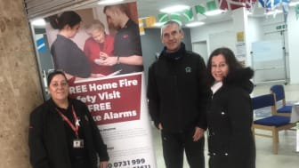 Catherine Wallace, Community Action Team SFRS, Mito Alvarez-Liddell, ng2 Estate Services Foreman, and Helen Carroll, Chair of Springburn Central Community Council at the Community Hub in Springburn Shopping Centre