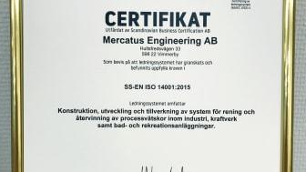 Mercatus miljöcertifikat ISO 14001
