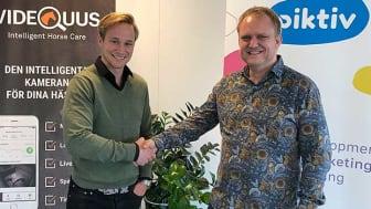 Linus Jernbom, vd Videquus, och Jonas Bjering, vd Piktiv är båda nöjda med det avtal som träffats mellan bolagen.