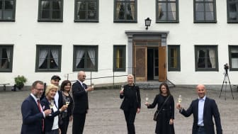 Champagne at Hallbars Sustainability Reports exhibition launch, Alfred Nobel House, Karlskoga, Sweden (Photo Ewa Hector Agorelius)