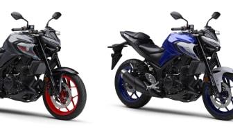 (左より)「MT-03 ABS」(グレー)、「MT-25 ABS」(ブルー)、「MT-25 ABS」(マットダークグレー)
