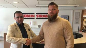 Till vänster,Nathan Edidovich, Inköpschef Züblin Scandinavia och till höger Christpher Shotey, säljare Lambertsson Sverige
