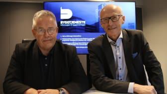Bildetekst: Jon Karlsen (til venstre) og Halvard Gavelstad. Foto: Arve Brekkhus, Byggeindustrien