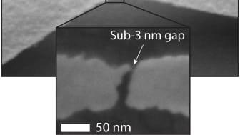 Bild av sprickgenererad tunnelövergång tagen med elektronmikroskop. Sådana elektriska övergångar, tunnelövergångar, kan lösa viktiga tekniska utmaningar som nanovetenskapen idag ställs inför. Det visar Valentin Dubois från KTH i sin nya avhandling.
