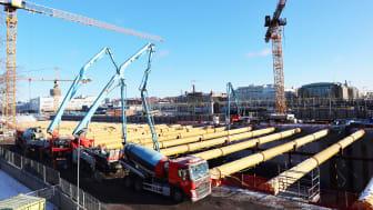 Redan 2012 började Thomas Concrete Group som första aktör i Sverige erbjuda klimatförbättrad betong. Nu används den i Sveriges största projekt med denna typ av betong. Foto:NCC