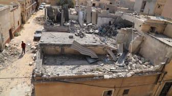 Hus i Qasr Bin Ghashir som förstörts av flygattacker utförda av GNA den 23 June 2019 ©Amnesty International