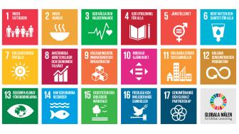 Globala målen (www.globalamalen.se), logotyper av Trollbäck och The New Division.