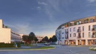 Här planeras för bostadsrätter bestående av Paradhusen, radhus på tre plan på dryga 140 kvm, samt Residenset som består av 38 lägenheter.