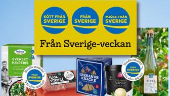 """SIA Glass, Nybergs Deli, Kiviks Musteri, Leksands Knäckebröd, Frebaco och KLS Ugglarps är några av de företag som skyltar upp i butikerna under Från Sverige-veckan med tema """"Handla utmärkt!"""" den 3-11 oktober."""