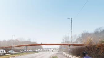 Visualisering af den kommende bro over Jyllingevej