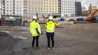 SKB har tre pågående byggprojekt just nu. I Hagastaden byggs kvarteret Lysosomen med 128 kooperativa hyresrätter. Foto: Karin Alfredsson