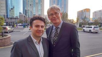 Foto: Från vänster, Maxim Zarnitsyn, som arbetar för Regin i Kazakstan samt Stefan Blom, Group Sales Director på Regin.
