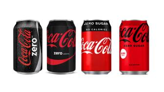 Sokeriton Coca-Cola lanseerattiin alun perin mustassa pakkauksessa, mutta 15 vuoden aikana punainen väri on lisääntynyt pakkauksessa. Uudessa Zerossa mustaa on enää vain logo.