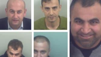 The five men who were jailed. Clockwise from left: Harem Kamishi, Mohamad Hassan Mohamad,  Shamal Mohammed Najib, Dani Adam, Dyar Hama