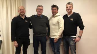 Fr. v. Tomas Hedman Strömhielm Försäljningschef XL-BYGG, Per Mases tidigare ägare av XL-BYGG Moraträ, Pål Mases ägare av XL-BYGG Siljan, Christer Blank ägare samt VD XL-BYGG Siljan