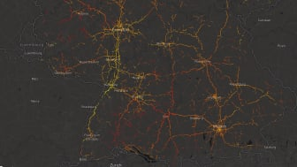 Road surface temperature map created by connected vehicles in southern Germany