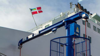 Image of one of our shore-to-ship power cable management systems at the Port of Ystad.