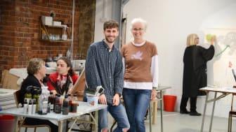 Alex Brown with partner Jane Dawson at Fine Studios