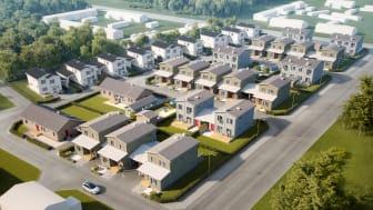 Det blir ett varierat och levande kvarter med flera olika boendetyper som växer fram i Brf Vimpelgården.