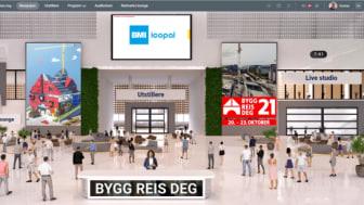 Velkomsthallen til Bygg Reis Deg sin digitale messeplattform