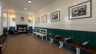 Southern's new heritage-style platform waiting room at Eridge