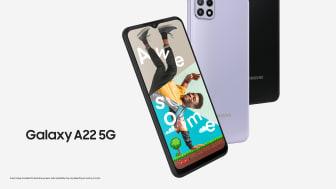 Høy skjermkvalitet: Galaxy A22 5G er en kraftfull mobil med avansert grafikk, som øker den visuelle opplevelsen ved streaming og gaming.