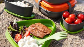 Smarta lunchkitet består av flera praktiska lådor och multibesticket Spork.