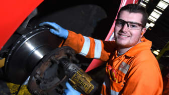 Nathan Smith, a second year engineering apprentice at Go North East's depot in Chester-le-Street