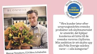 Marcus Terneborn, butikschef för landsortsbutiken ICA Nära Julitahallen, vill hjälpa sina kunder att hitta de ursprungsmärkta svenska produkterna de letar efter med hjälp av Från Sveriges nya butiksmaterial.