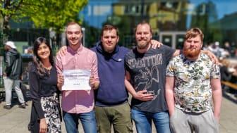 Vinnarna från Högskolan Kristianstad från vänster: Mashal Iqbal, Rasmus Eriksson, Liridon Smailji, Simon Westerdahl och Oskar Forssman.