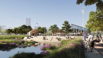 Nyréns visualiseringsstudio visar förslagets idéör platsen kring Parkens hjärta, med soltrappan och dagvattenstråket i förgrunden. Det generösa växthuset med anslutande cafébyggnad blir en viktig mötesplats under alla årstider.