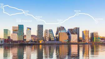 Målet är en restid mellan Oslo och Stockholm på under tre timmar.