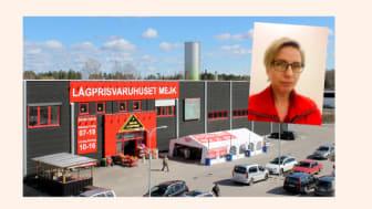 Sparbanksbonusens symbol och en av deltagande handlare, Maria Melin på MEJK.