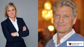 Finansminister Magdalena Andersson och Erik Sjölander, näringspolitisk talesperson, Småföretagarnas Riksförbund