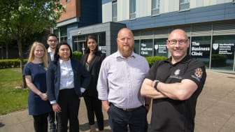Back (L to R): The Business Clinic student consultancy team Emily Spink, Amir Aynetchi, Jiali Liu and Christina Krommyda with their clients Neil Osborne and Keith Broughton from Northumberland Spirit Company.
