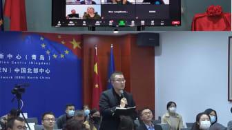 Internationella besök från bl a Kina fortsätter att visa intresse för svenska lösningar av hållbara städer; numera digitalt. Här är Qingdao uppkopplade med Smart City Sweden/Dalarna Science Park