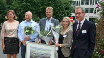 Fra venstre: Anne Kathrine Slungård, Åsmund Eidskrem, Lars Nymo Trulsen, Ida Zoi og Idar Kreutzer. Foto: Ragnar Falck, Sparebankbladet.